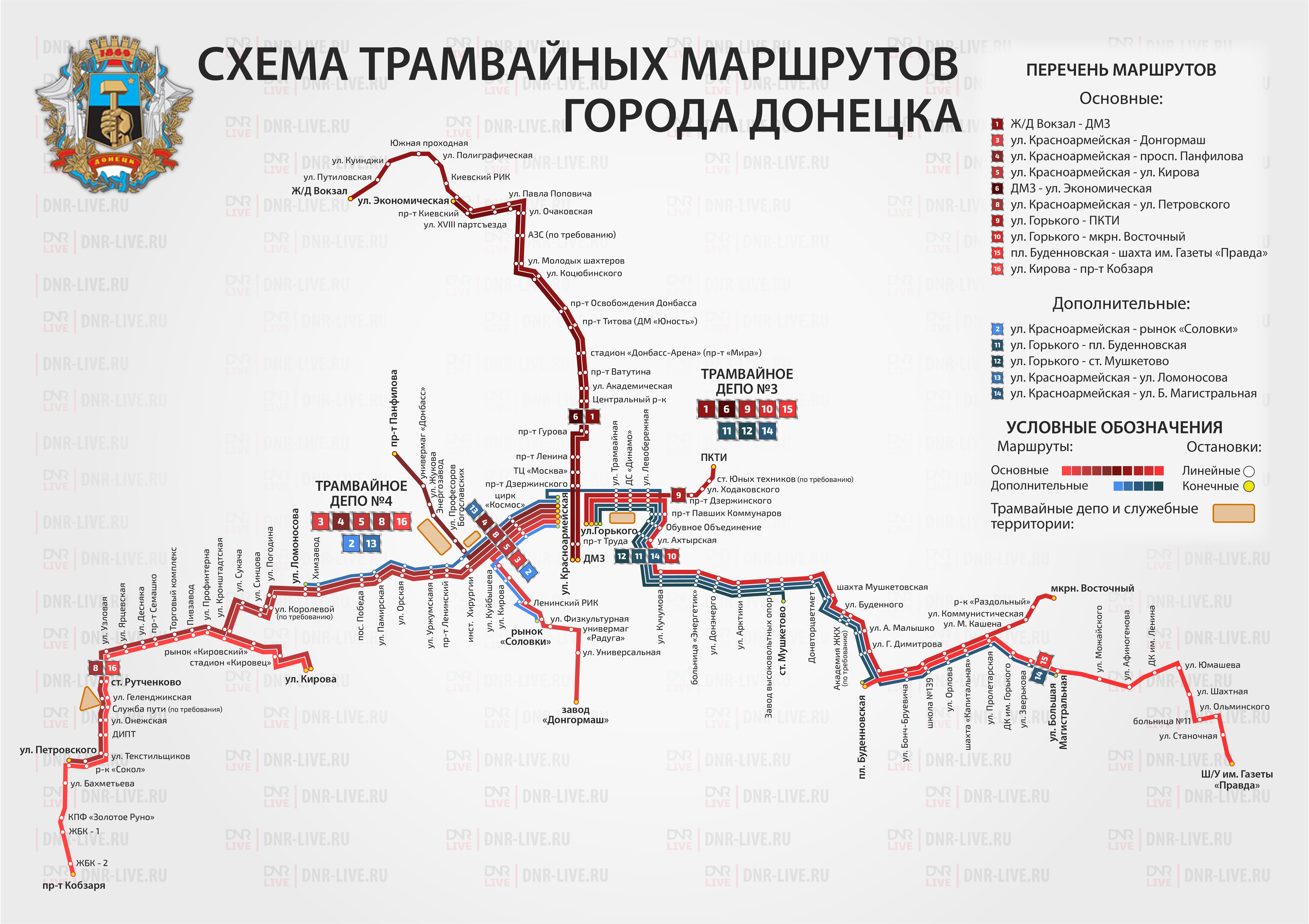 схема трамвайных маршрутов донецк